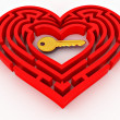 key in the center of labyrinth in form of heart — Stock Photo #4737256