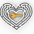 key in the center of labyrinth in form of heart — Stock Photo #4737257