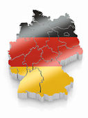 Map of Germany in German flag colors — Stock Photo