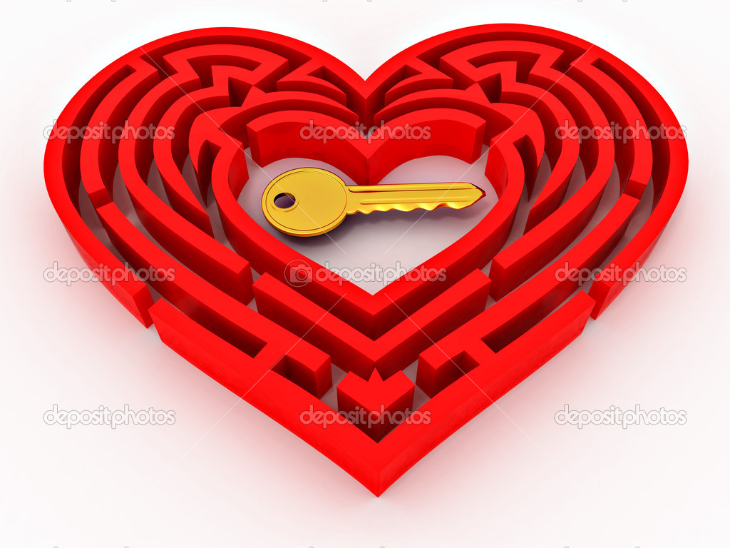 Key in the center of labyrinth in form of heart. 3d  Stock Photo #4737256