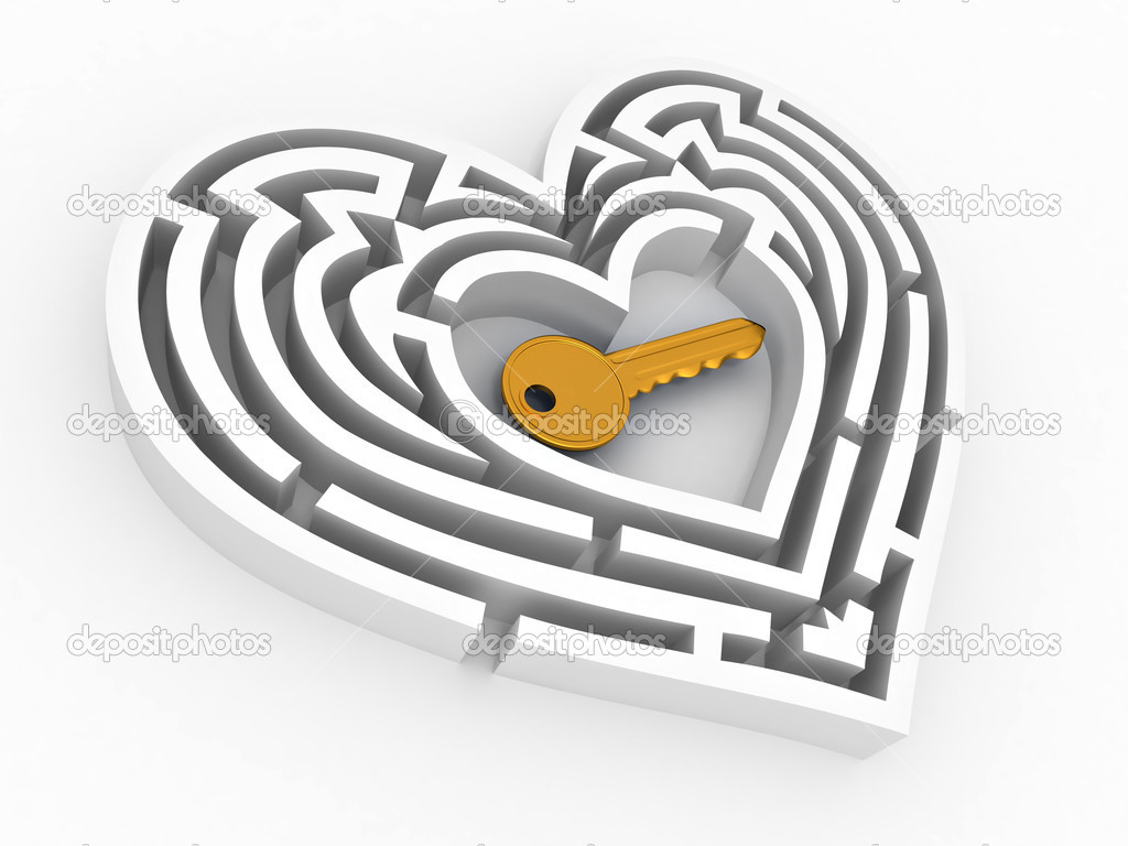 Key in the center of labyrinth in form of heart. 3d — Stock Photo #4801808