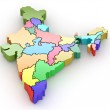 Three-dimensional map of India on white isolated background — Stock Photo #4869589