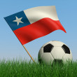 Soccer ball in the grass and the flag of Chile — ストック写真