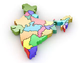 Three-dimensional map of India on white isolated background — Stock Photo