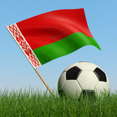 Soccer ball in the grass and flag of Belarus. — Stock Photo