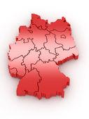 трехмерная карта германии. 3d — Стоковое фото