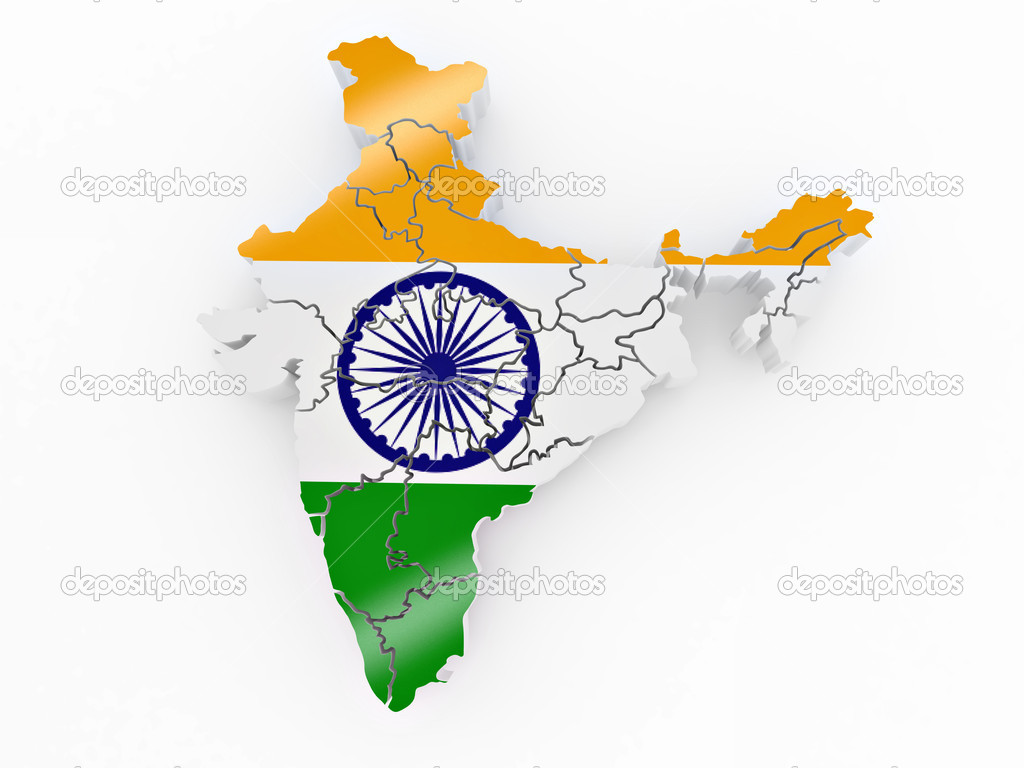 India Flag Map: Map Of India In Indian Flag Colors