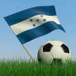 Soccer ball in the grass and the flag of Honduras — Stock Photo
