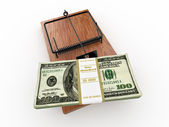 Mousetrap with dollar on white isolated background — Stock Photo