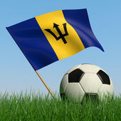 Soccer ball in the grass and the flag of Barbados — Stock Photo
