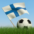 Soccer ball in the grass and flag of Finland. — Stock Photo