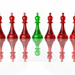 Conceptual image of false leadership. Chess. 3d — Stock Photo