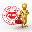 Men with stamp i love you — Stock Photo