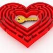 Stock Photo: key in the center of labyrinth in form of heart