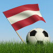 Soccer ball in the grass and flag of Latvia. — Stock Photo