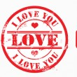 Postal stamp i love you. Vector - Stock Photo