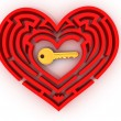 Key in the center of labyrinth in form of heart — Stock Photo #5055289