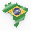 Map of Brazil in Brazilian flag colors — Stock Photo #5055338