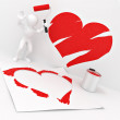 Men, drawing heart on the wall — Stock Photo #5055354