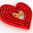Key in the center of labyrinth in form of heart — 图库照片