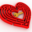 Key in the center of labyrinth in form of heart — Stockfoto