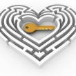 Key in the center of labyrinth in form of heart — Stock Photo