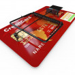 Credit card as mousetrap. Conceptual image — Photo