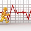 Running men on the background of the chart heartbeat — Stock Photo