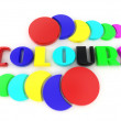 Word colors from of the letters in different colors. 3d — Stock Photo