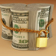 Dollar on lock — Stock Photo