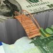 Bridge between euro and dollar - Stock Photo