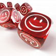 Dice with different emotions on faces — Stock Photo #5058827