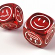 Dice with different emotions on faces — Stock Photo