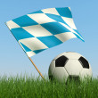 Soccer ball in the grass and flag of Bavaria. - Zdjęcie stockowe