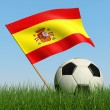 Soccer ball in the grass and flag of Spain. — Stock Photo