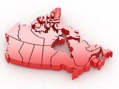 Dreidimensionale karte von kanada. 3d — Stockfoto
