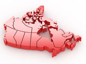 Three-dimensional map of Canada. 3d — Stockfoto