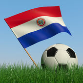 Soccer ball in the grass and the flag of Paraguay — Stock Photo