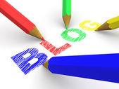 Pencils depicting text blog — Stock Photo