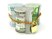 Dollar, euro, ruble on lock — Stock Photo
