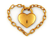 Chain with lock as heart — Stock Photo
