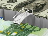 мост между евро и долларом — Стоковое фото