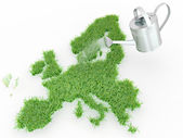 Watering lawns in the form of Europe. 3d — Stock Photo