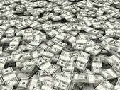 Richesse. fond de paquets de dollar. 3d — Photo