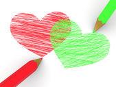 铅笔描绘的心 — 图库照片