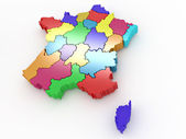 Three-dimensional map of France on white isolated background — Stock Photo