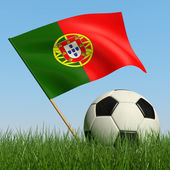 Soccer ball in the grass and flag of Portugal. — Stockfoto