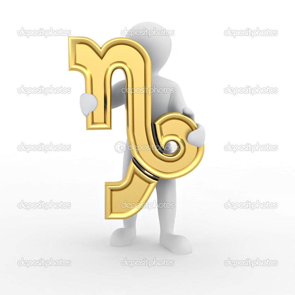 Capricorn. Man with astrological symbol on white isolated background. — Stock Photo #5055058