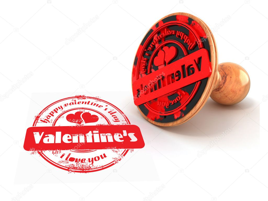 Stamp happy valentine's day on white isolated background. 3d — Stock Photo #5055342