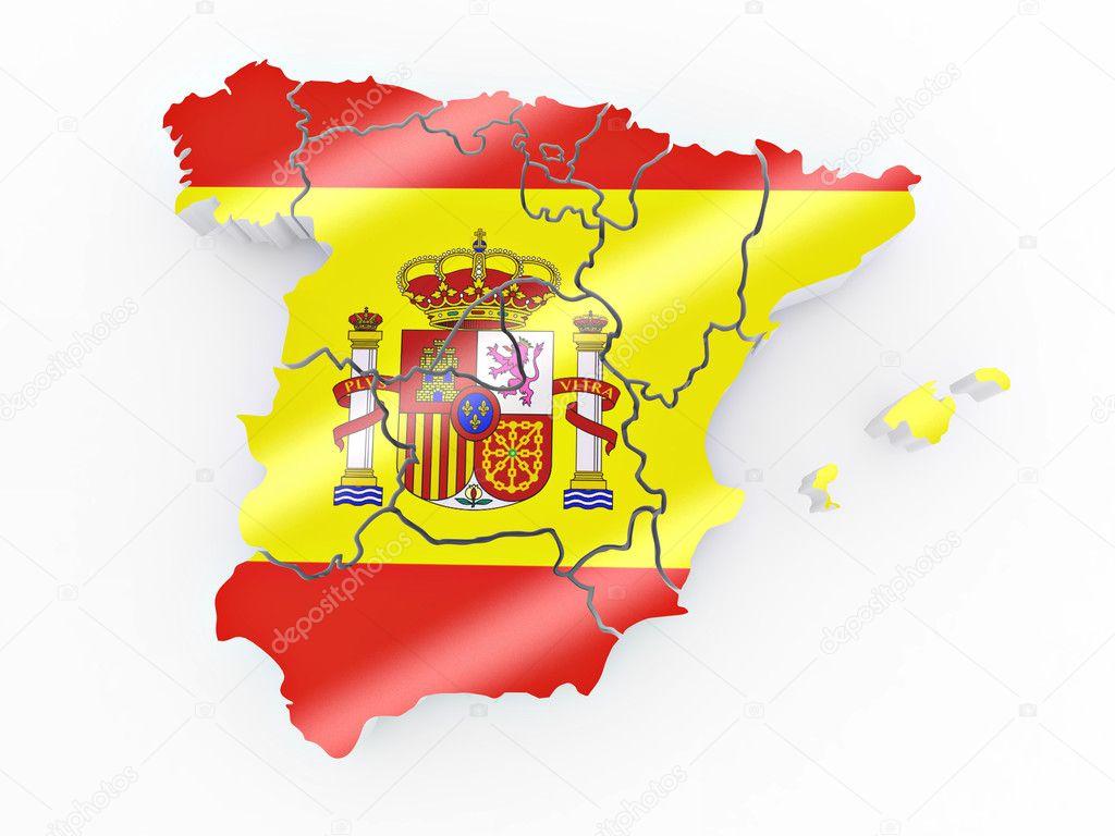 carte de lespagne dans les couleurs du drapeau espagnol photographie maxxyustas 5055432. Black Bedroom Furniture Sets. Home Design Ideas